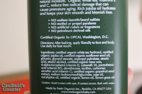 The Organic Bath Co. Mountain Sage Moisturizer for Men Ingredients List Caulfields Counter Male Skin Care Grooming