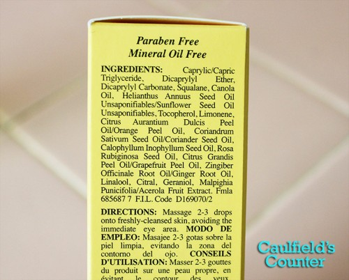 Kiehl's Daily Reviving Concentrate Day Face Oil Ingredients List Review Image